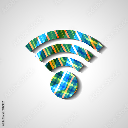 Wireless network symbol, abstract style illustration