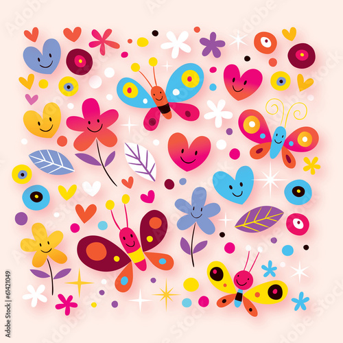 butterflies, hearts & flowers