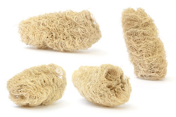 set of loofah (natural luff sponge) isolated on white