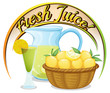 Fresh juice label with a basket of oranges