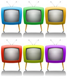Six televisions with antenna