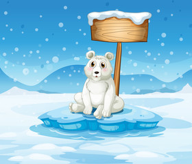 A polar bear sitting under the empty wooden signboard