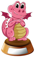 A young dragon above the trophy stand with an empty label