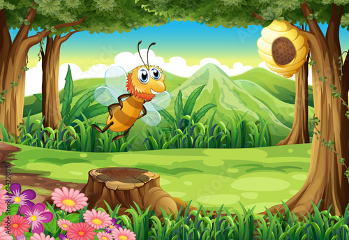 A bee at the forest going to the beehive