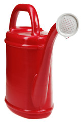 red plastic watering can