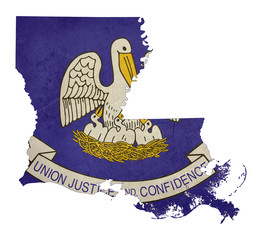 Grunge state of Louisiana flag map