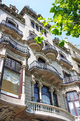 Old architecture at Passeig de Gracia street. Barcelona