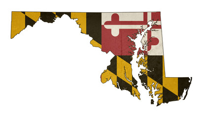Grunge state of Maryland flag map