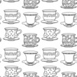 Seamless pattern with tea cups, coffee cups in black and white -