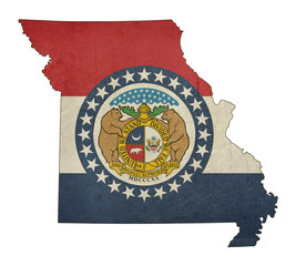 Grunge state of Missouri flag map
