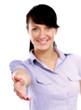 A businesswoman offering a handshake