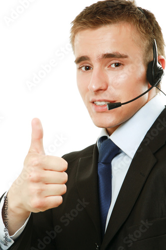 A customer service agent showing ok