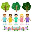 自然と子供たち / vector eps