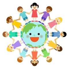 地球と子供たち / vector eps