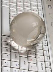 Globe and keyboard.