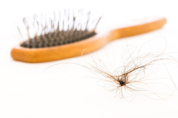 hair fall and brush