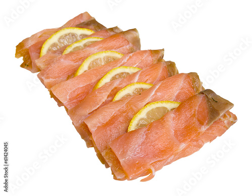 Smoked salmon slices