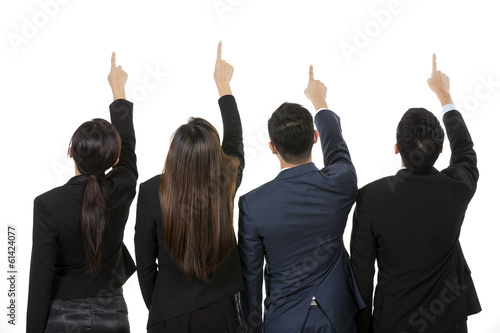 Group of Chinese business people pointing at something.