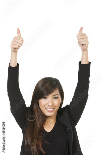 Excited Asian woman with thumb up.