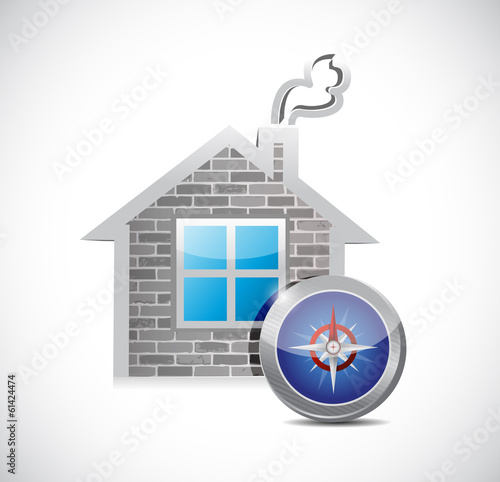 home and compass illustration design