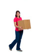 Young lady holding a moving box