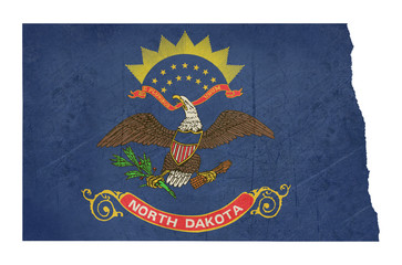 Grunge state of North Dakota flag map