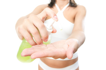 Liquid soap in female hands