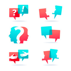 Set of speech bubbles with people face and question mark