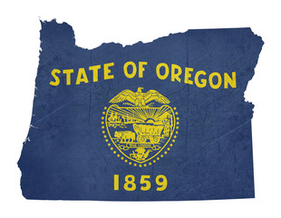 Grunge state of Oregon flag map