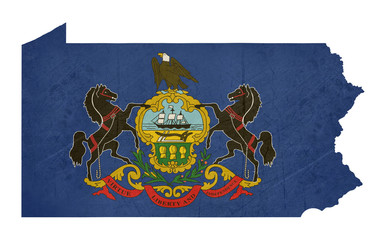 Grunge state of Pennsylvania flag map