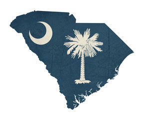 Grunge state of South Carolina flag map