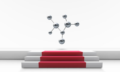 molecule model above stage