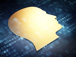 Marketing concept: Golden Head on digital background