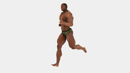 Black bodybuilder active man running with alpha mask