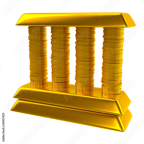 Illustration of bank made of gold bars and coins