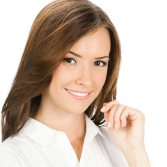 Portrait of happy smiling cheerful young businesswoman