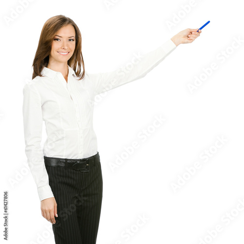 Happy smiling beautiful young cheerful business woman showing