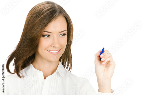 Young businesswoman writing or drawing on screen