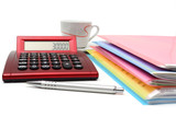 accounting concept with files, folders and calculator