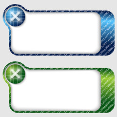 set of two abstract text frames with ban sign