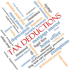 Tax Deductions Word Cloud Concept angled