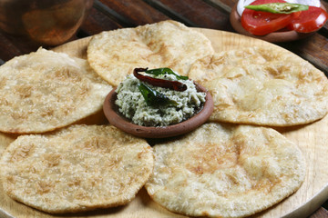 Urad dal puri indian flatbread.