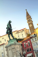 Old town Piran with statue of Giuseppe Tartini