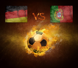 Hot soccer ball in fires flame, game Germany and Portugal