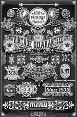 Vintage Hand Drawn Graphic Banners and Labels on Blackboard