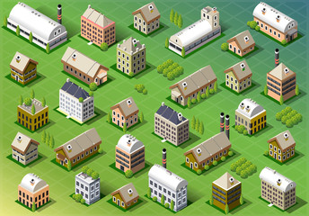 Set of Isometric Building in Spring