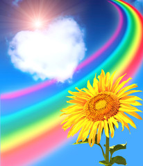 Rainbow, sunflower and heart from clouds