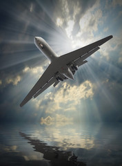 Jet passenger plane in dangerous situation over a sea.