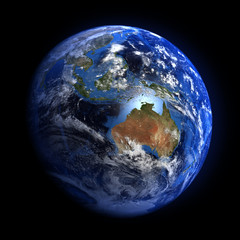 The Earth from space showing Australia and Indonesia.