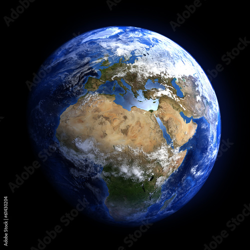 The Earth from space showing Europe and Africa. - 61430204